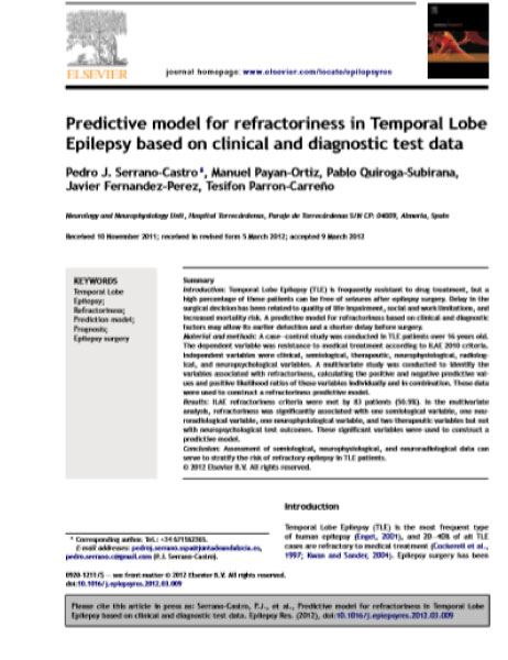 A Predictive model for refractoriness in TLE based on clinical an diagnostics data